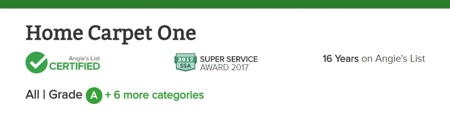 Home Carpet One earns the 2017 Super Service Award from Angie's List