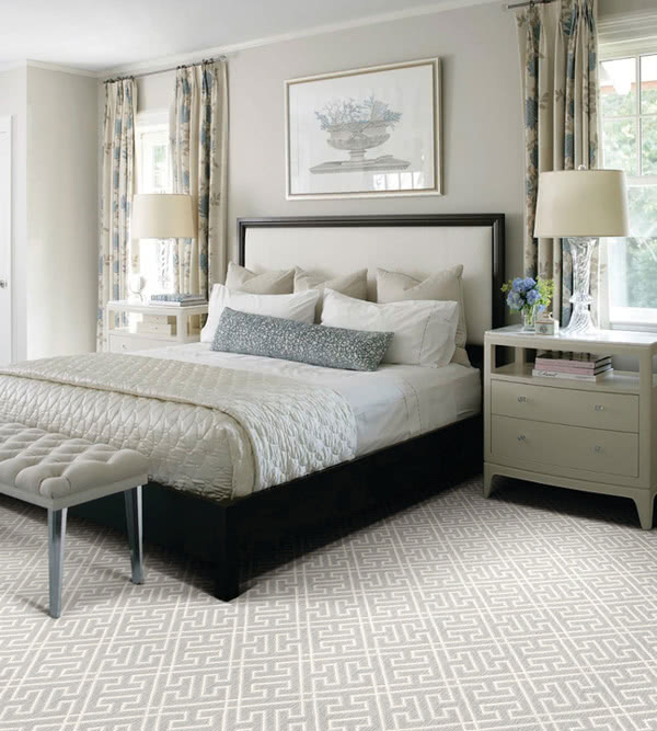 Bedroom floor designed with Pivot wool blend carpet from Stanton. Available in the hottest colors today!