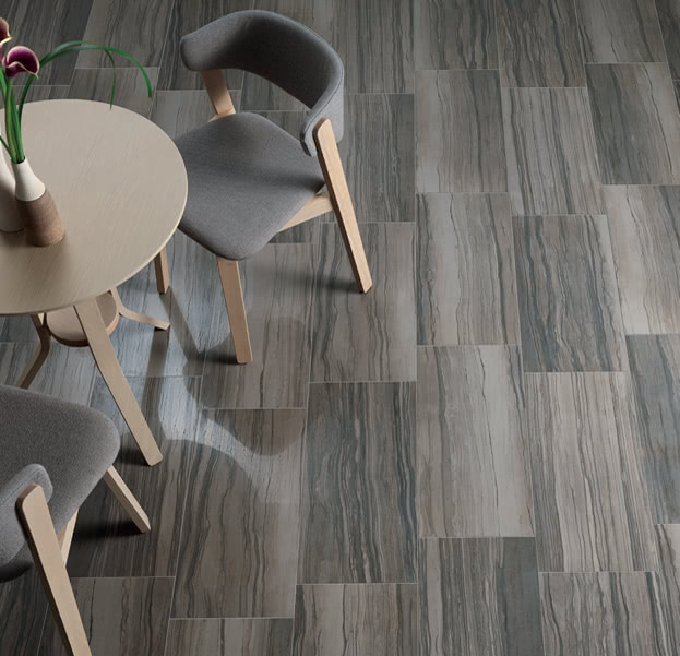 Elegante Dark Tile carried exclusively by Home Carpet One adds life to any room in the house.
