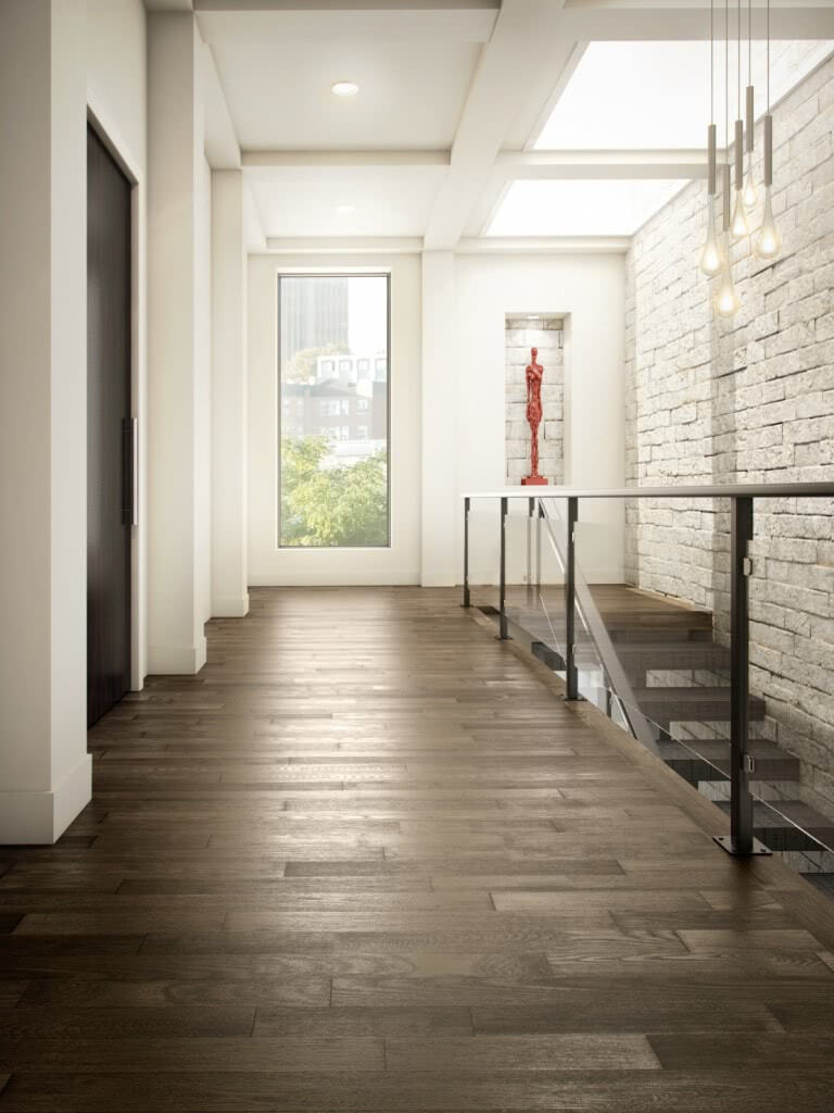 This elegant Ash Brushed hardwood in rich Graphite from <a data-cke-saved-href='/hardwood/flooring/preverco/' href='/hardwood/flooring/preverco/' target='_blank'>Preverco</a> is the perfect flooring to complement your sense of style. With an inconspicuous sheen and slightly rugged characteristics, this is your floor to let your decor shine.