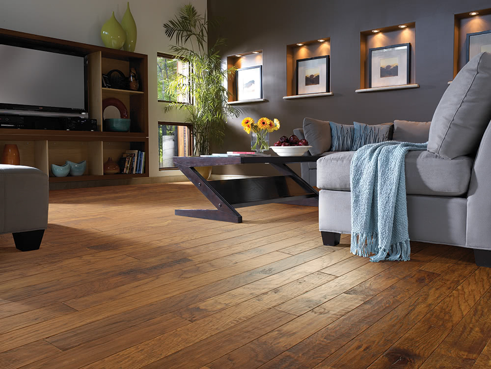 A cozy, natural feel is achieved with this subltly textured <a data-cke-saved-href='/hardwood/flooring/kahrs/' href='/hardwood/flooring/kahrs/'>Kahrs hardwood floor</a>. Pick from a variety of colors to match cool or warm color schemes.
