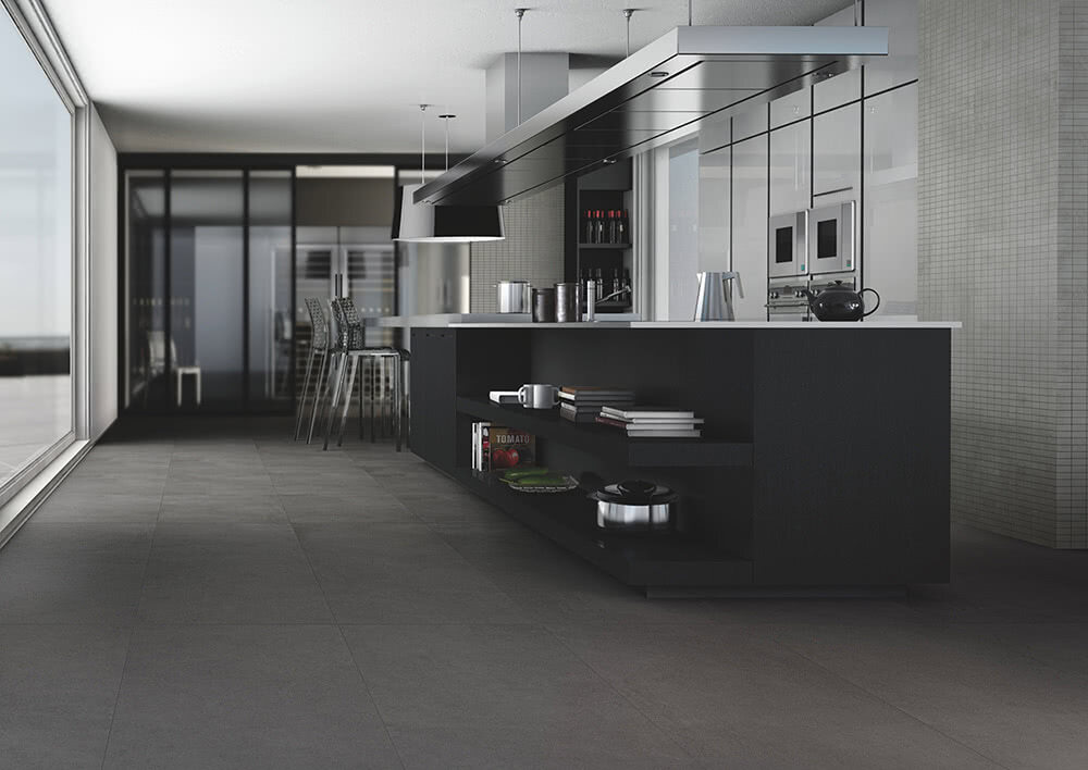 This kitchen features a new beautiful modern porcelain tile called Elegante. This tile imitates the hottest selling stone looks. The tile can be found exclusively at Home Carpet One.