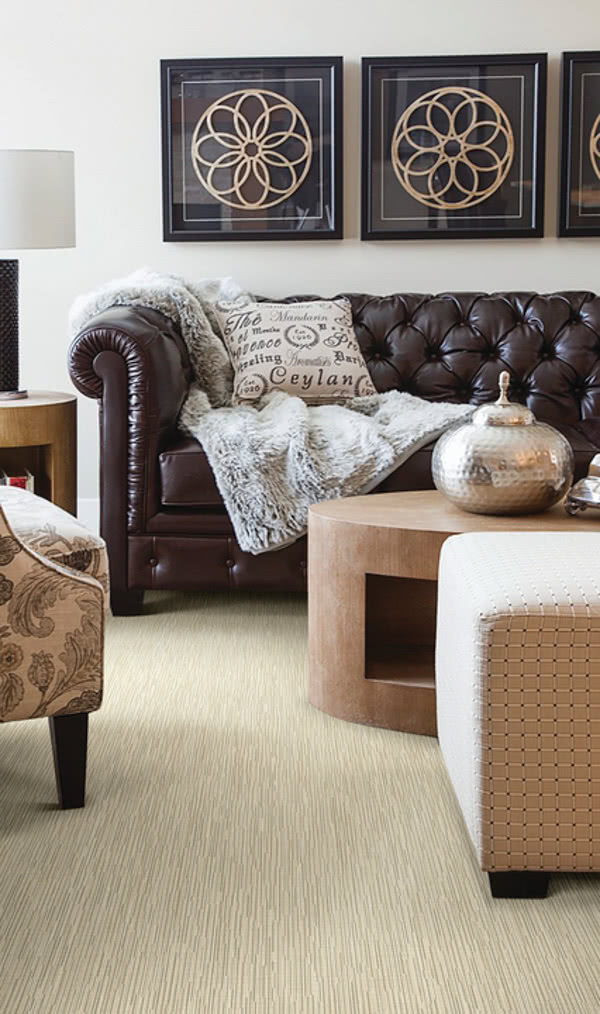 Epoch carpet by Stanton perfectly adds texture and depth to this neutral living room.