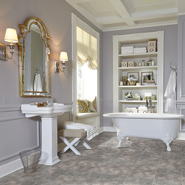 This Phoenix vinyl tile in 'Odessa Gray' is a great way to unify a monochrome bathroom look.