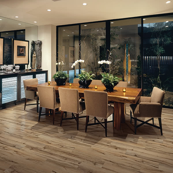 Traditional motifs and earth tones work perfectly with Dixie vinyl flooring in Country Oak.