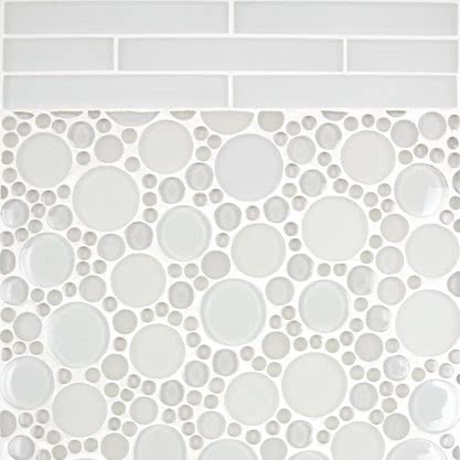 Arctic White Mosaic Glass tile by AKDO