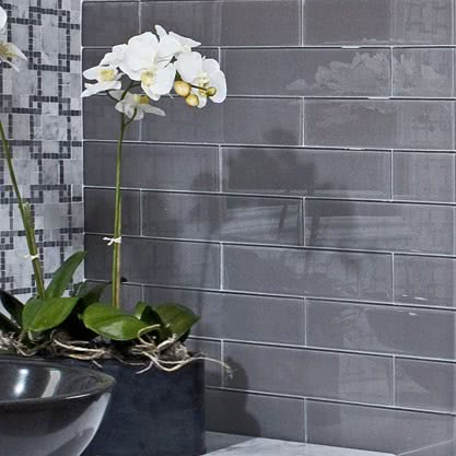 Lunar Gray Medium Mosaic Glass tile by AKDO